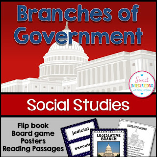 "Click to buy the ""Branches of Government Flip Book, Board Game, Posters, & Reading Passages"""