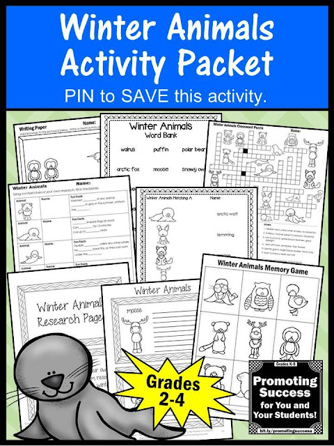 no prep winter animals activities worksheets for kids classroom