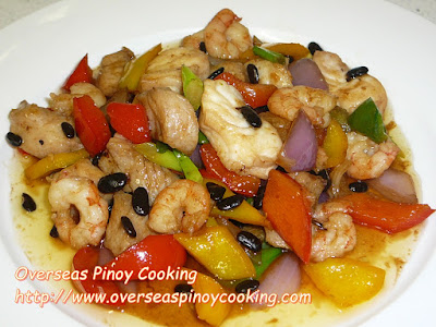 Fish and Shrimp with Black Beans Stirfry