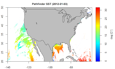 Working with hdf files in R – Example: Pathfinder SST data
