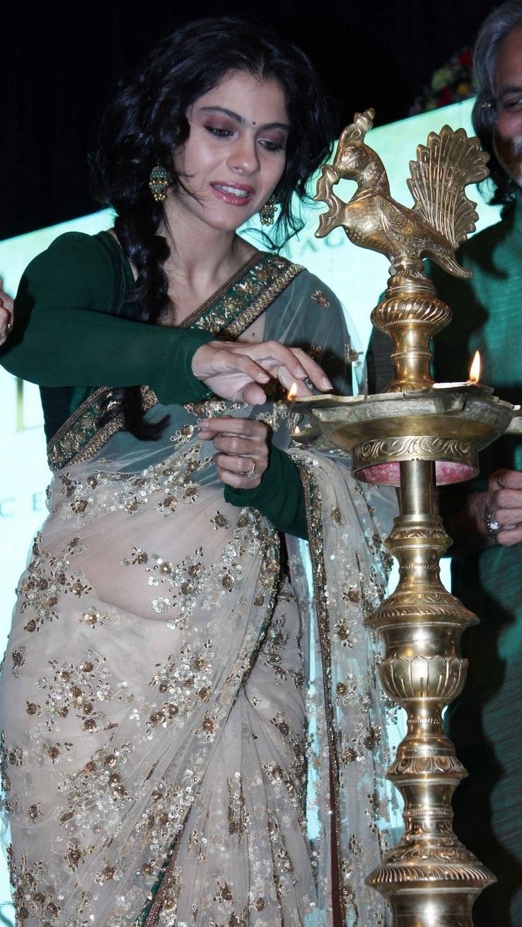 Indian Glamours Actress Kajol Photos In Transparent White Saree At Birthday Bash