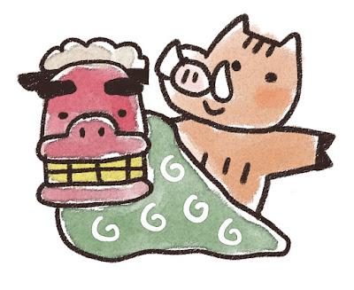 獅子舞と猪のイラスト(亥年)
