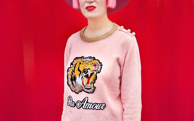 tiger jumper, pink jumper, Tooché