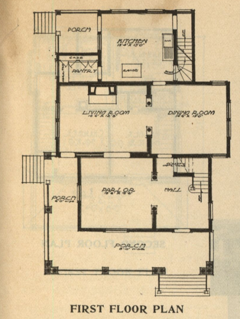 layout of first floor of Gordon-Van Tine Standard cut Home No. 115 1916 Standard Homes catalog