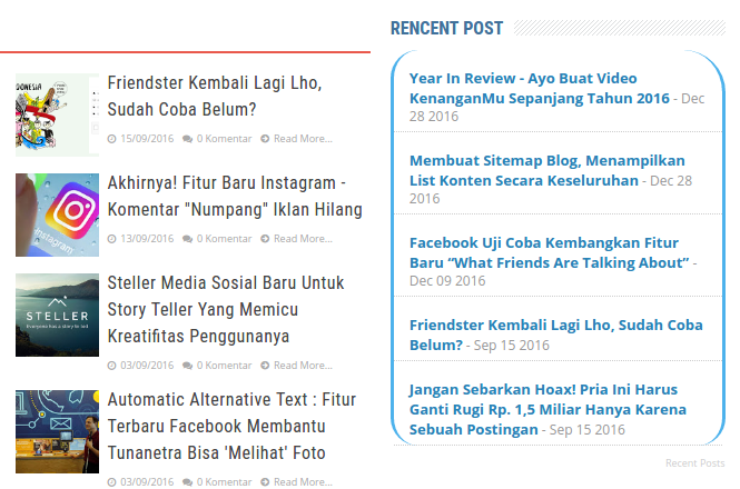 Membuat Widget Recent Posts Blog v2