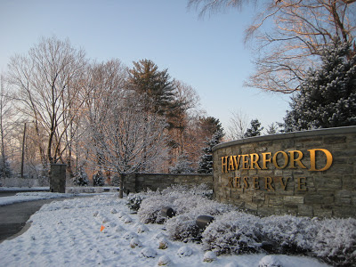 The Parkview Drive entry into Haverford Reserve on a snowy winter day