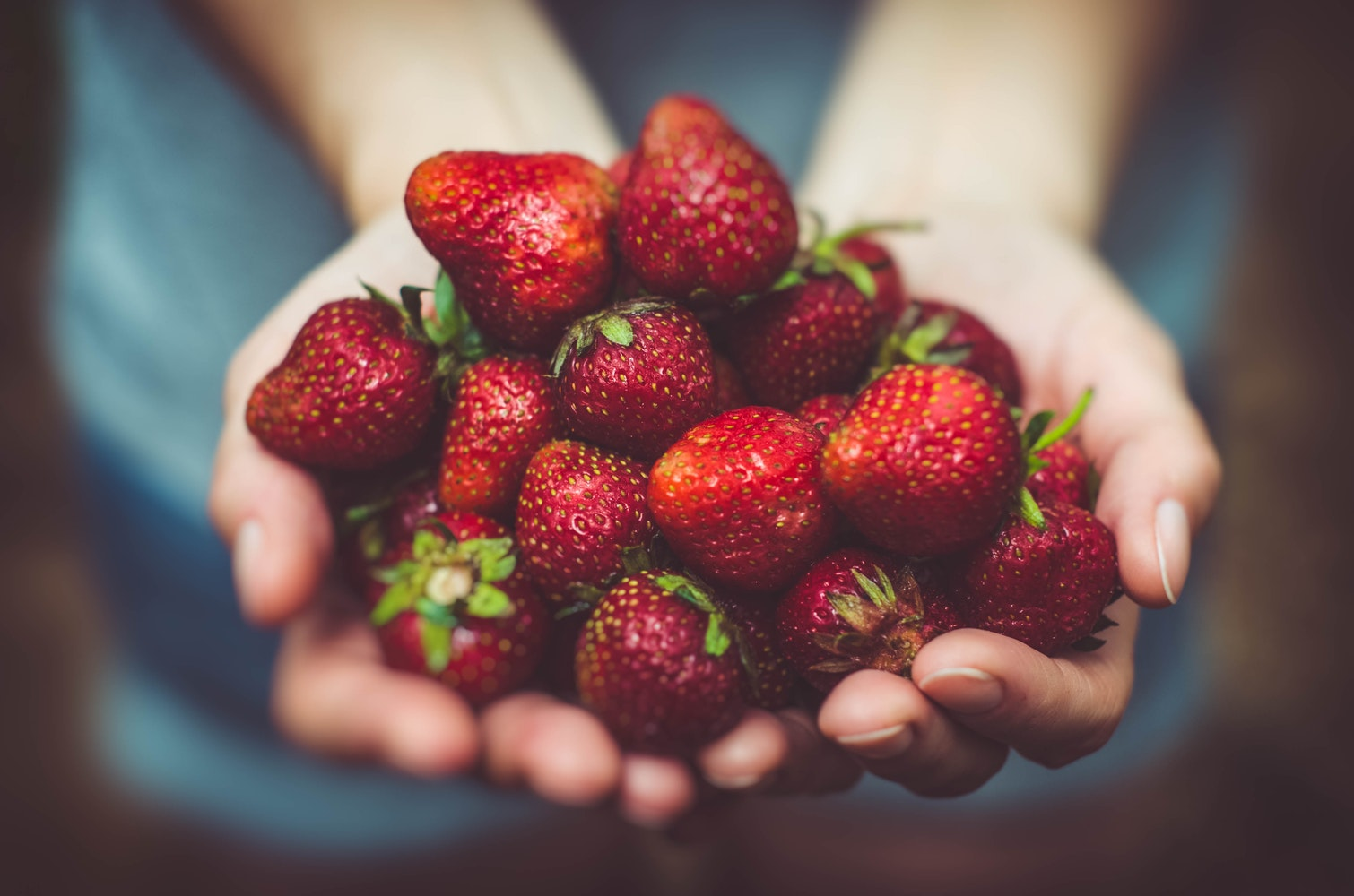 woman holding lots of healthy strawberries