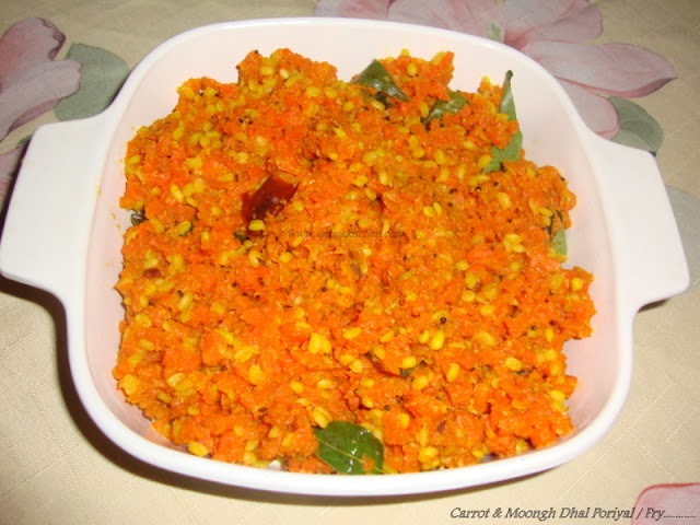 images of Carrot Pasiparuppu Poriyal / Carrot Moongh Dal Stir Fry / Carrot Poriyal