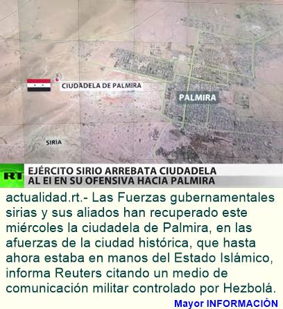Medios: Las Fuerzas del Gobierno sirio arrebatan la ciudadela de Palmira al EI