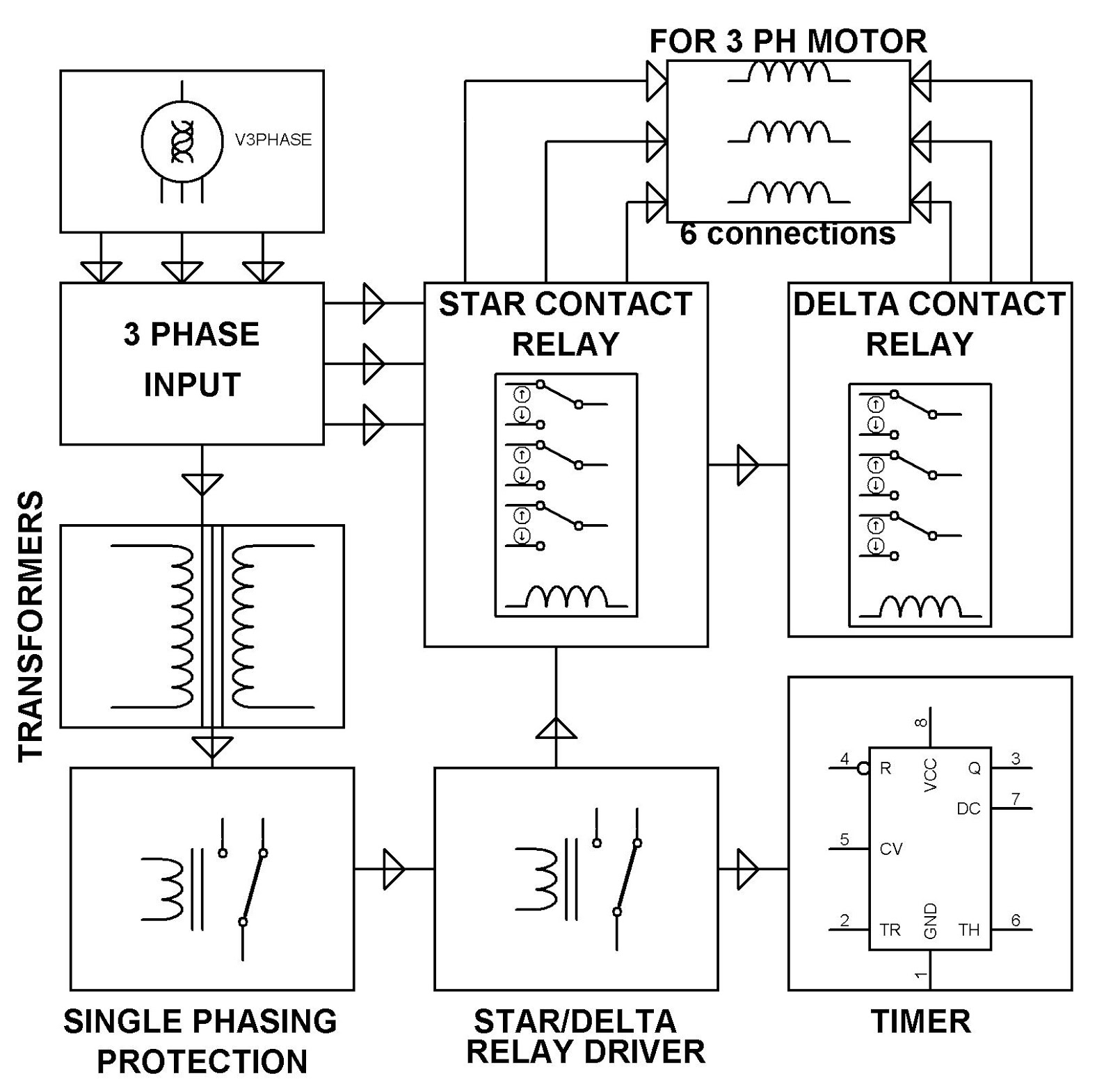 star delta starter wiring diagram with timer how to wire downlights electronics project malaysia automatic