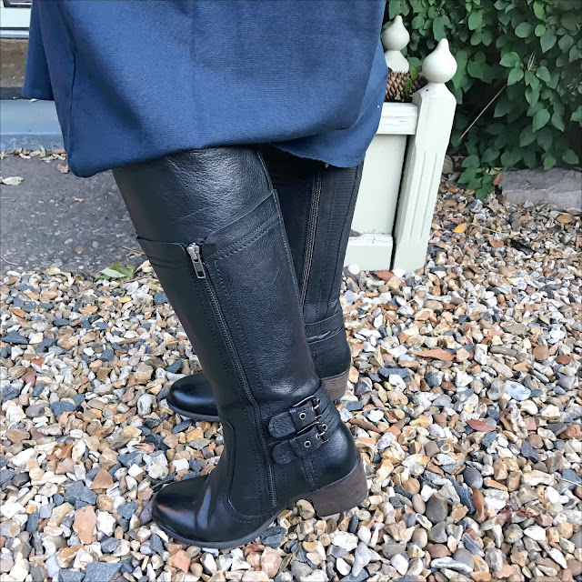 My Midlife fashion, lotus shoes yukka black leather knee high boots