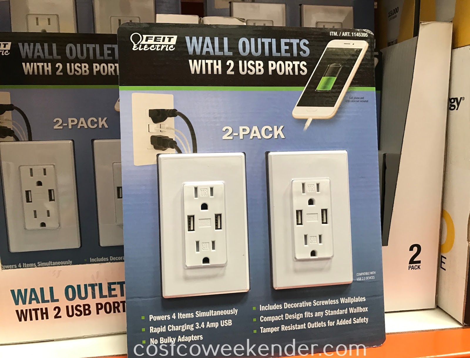 Charge up to 4 devices simultaneously with the Feit Electric Wall Outlets with USB Ports