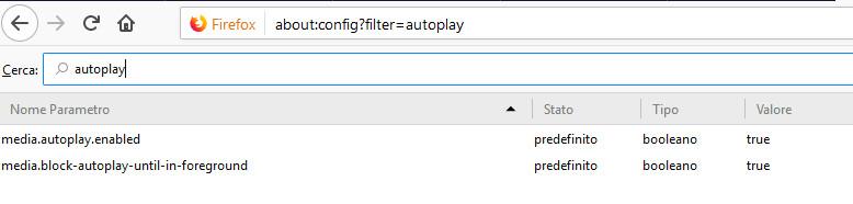 Valore autoplay firefox