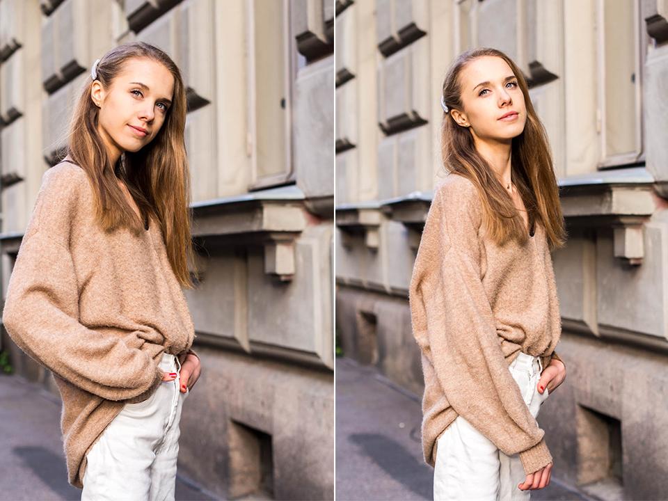 Autumn fashion inspiration from Scandinavia: white jeans and camel jumper - syysmuoti-inspiraatio: valkoiset farkut ja beige neule