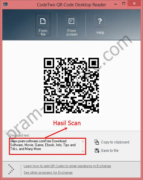 Hasil Scan QR Code