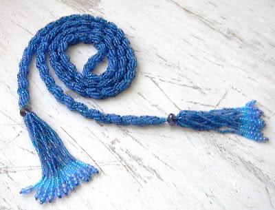 купить лариат из биера жгут синий ручной работы россия ру
