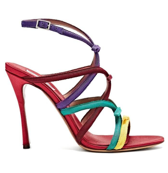 Rainbow Colored Strappy Stiletto Sandals
