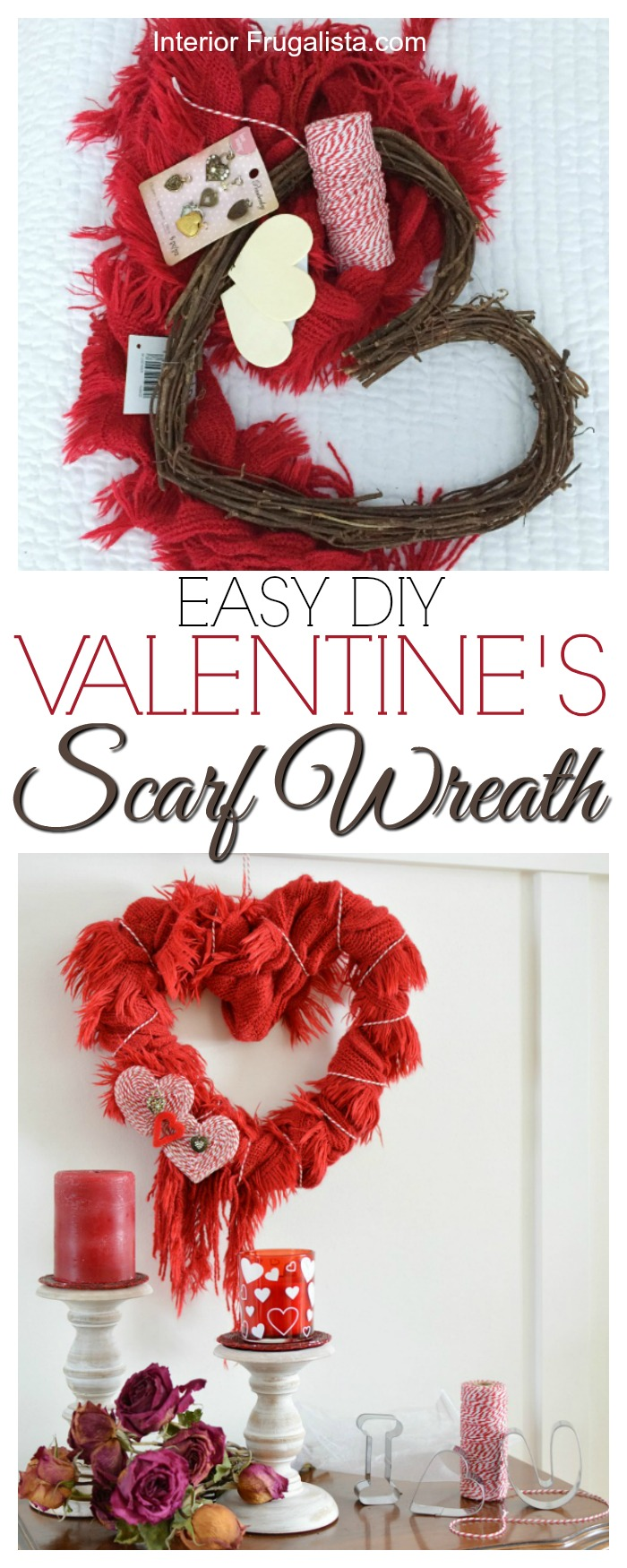 A quick, easy, and budget-friendly Valentine heart wreath idea made with a recycled red scarf. Once Valentine's Day is over, it can be worn again. #valentinewreath #heartwreath #scarfwreath #valentinecraft