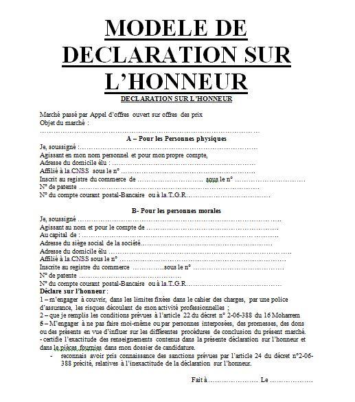 3 Soumissions En Patio Ou Balcon: Exemples D'attestations Sur L'honneur Pour Soumission En