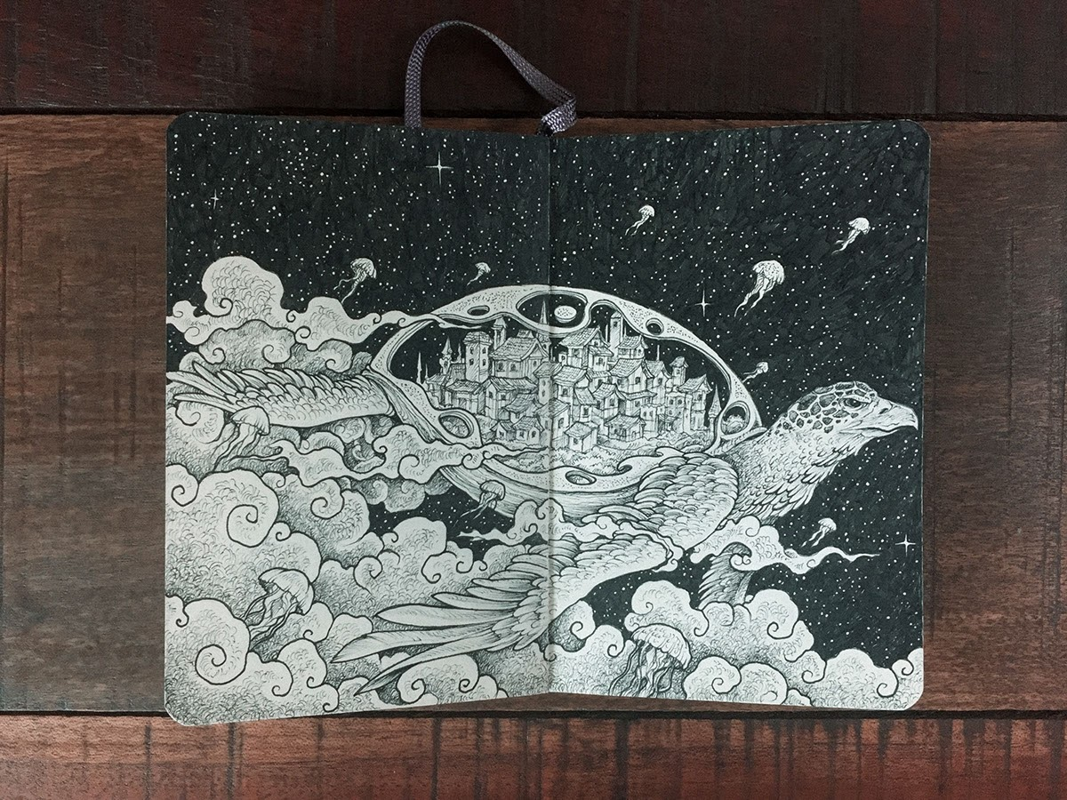 14-Turtle-City-amongst-the-Stars-Kerby-Rosanes-Detailed-Moleskine-Doodles-with-many-Whales-www-designstack-co
