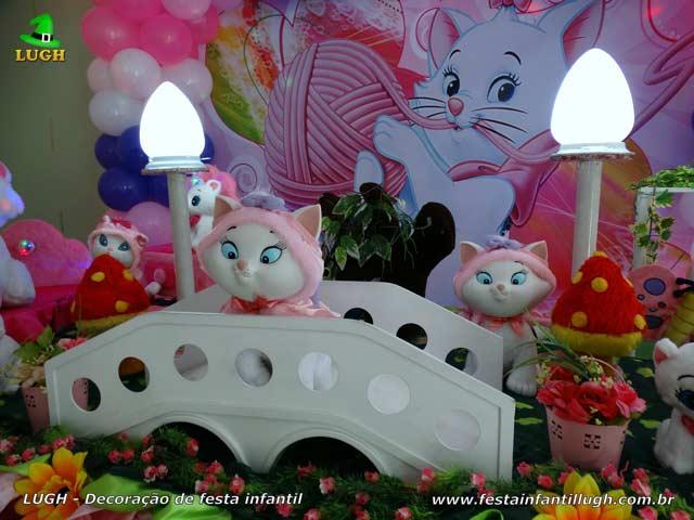 Decoração de mesa de aniversário tema Gata Marie - festa infantil