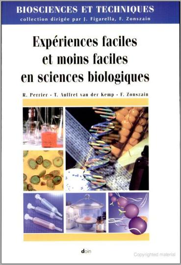 Livre : Expériences faciles et moins faciles en sciences biologiques PDF