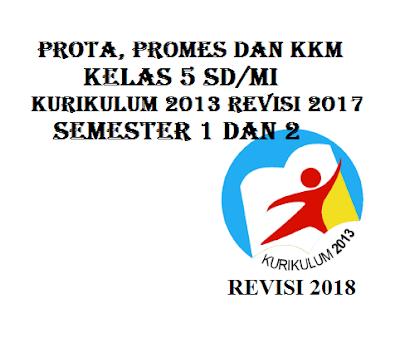 Prota, Promes dan KKM SD/MI Kelas 5 K13 Revisi 2017 Semester 1 dan 2