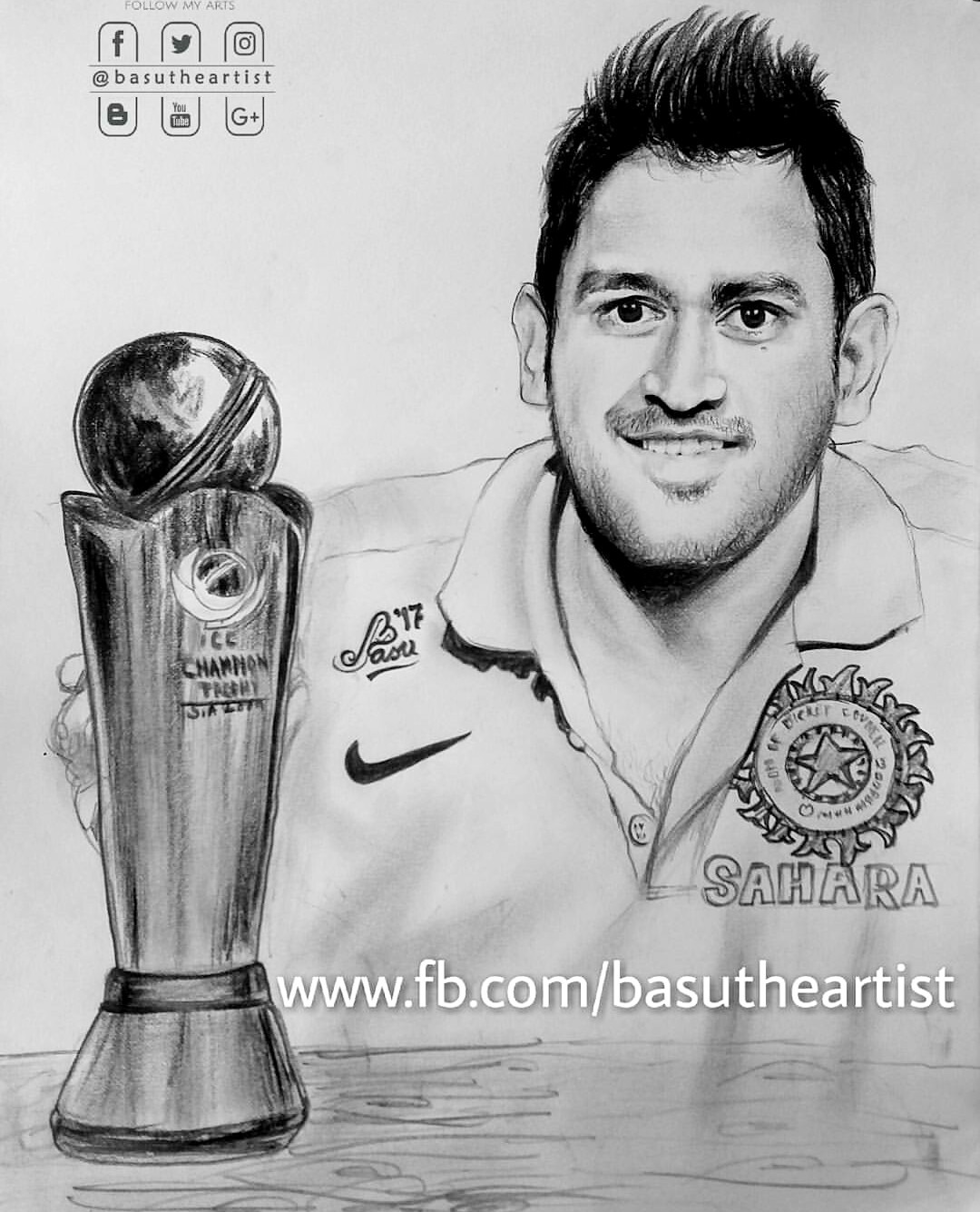 Ms dhoni pencil sketch