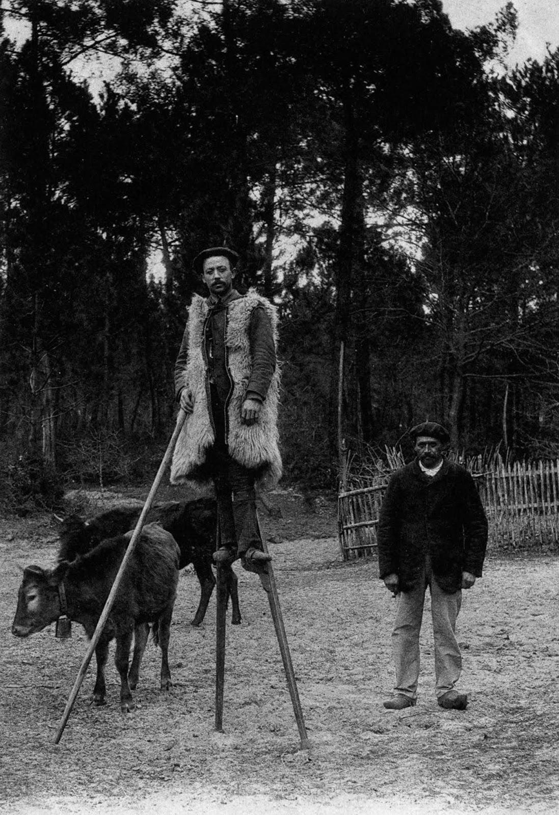 A French shepherd in stilts. 1930.