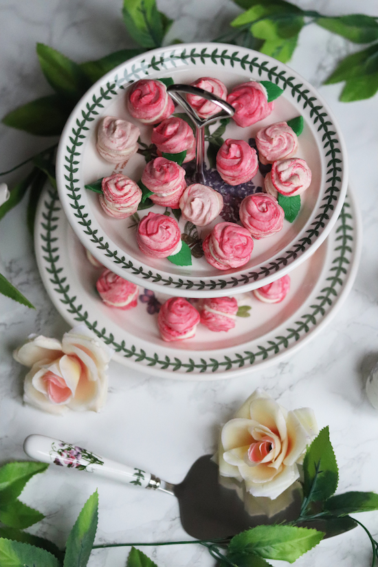 Rose effect macaron recipes