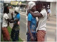 mad people kissing in ghana
