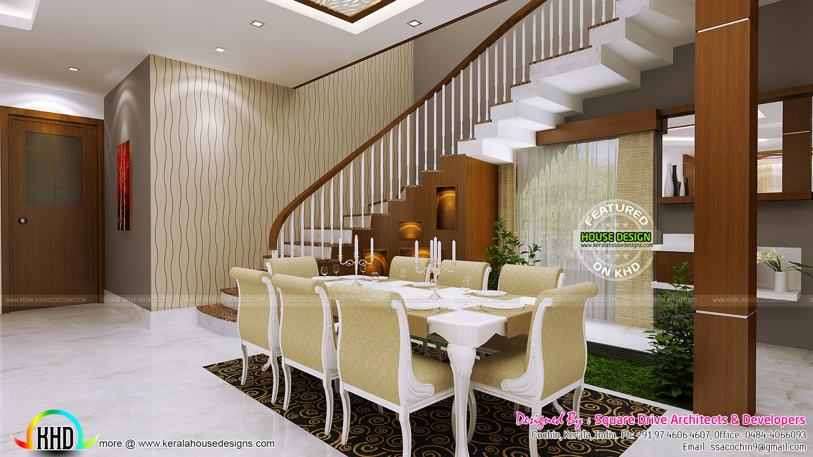 Home theater seating bedroom dining interior kerala for Latest dining hall designs