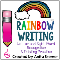 Rainbow writing alphabet and sight word activities for literacy centers in Kindergarten and First Grade