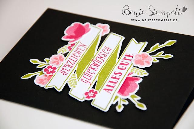 Stampin up Bunter Banner Mix Framelits Bannereien Glasklare Grüße Blumen Floral Big Shot Schwarz Black Pink
