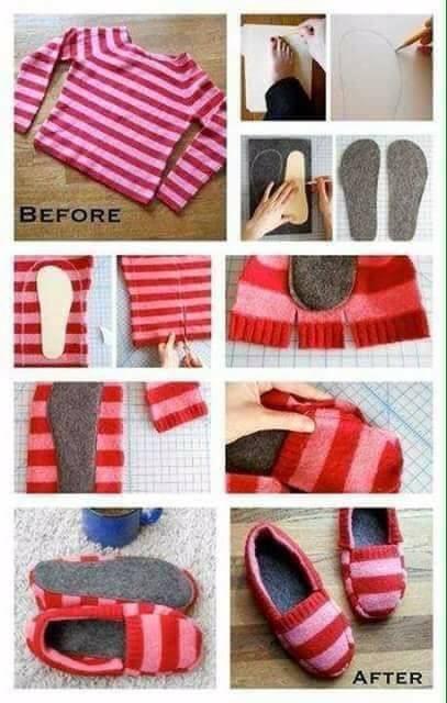 Cómo hacer pantunflas caseras a partir de un viejo buzo