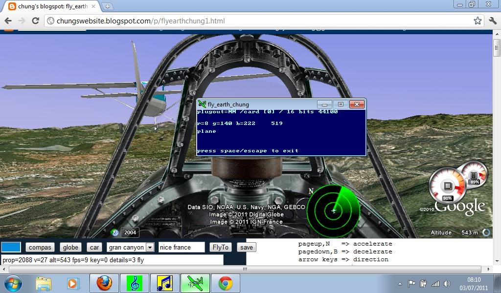 fbsound for google earth web flight simulator - freebasic net