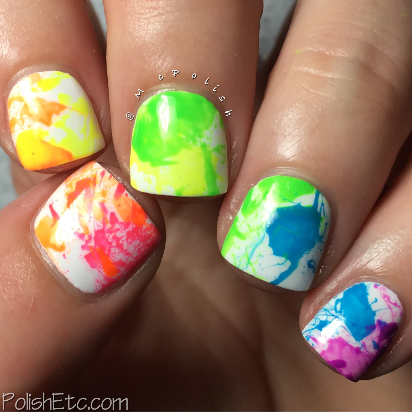 Neon Rainbow Splatter Nails for the #31DC2017Weekly - McPolish