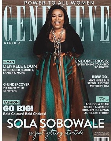 Nollywood Icon, Sola Sobowale grace the cover of Genevieve Magazine March/April issue