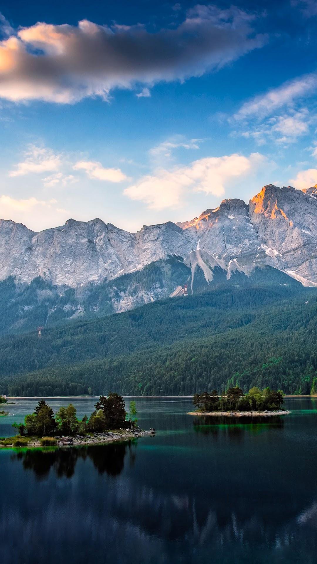 Lake Mountains Clouds 4k Wallpaper 32