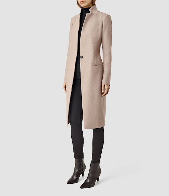 all saints nehru coat, smart cream wool coat, smart beige wool coat, beige midi wool coat,