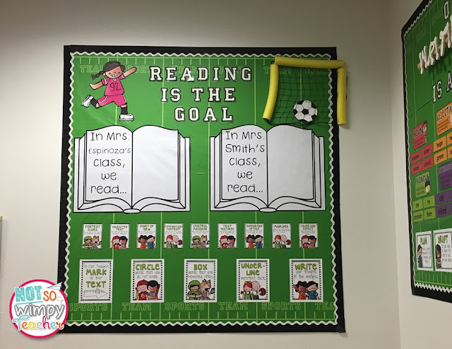 Sports Classroom Theme Reading and Writing Posters from Not So Wimpy Teacher