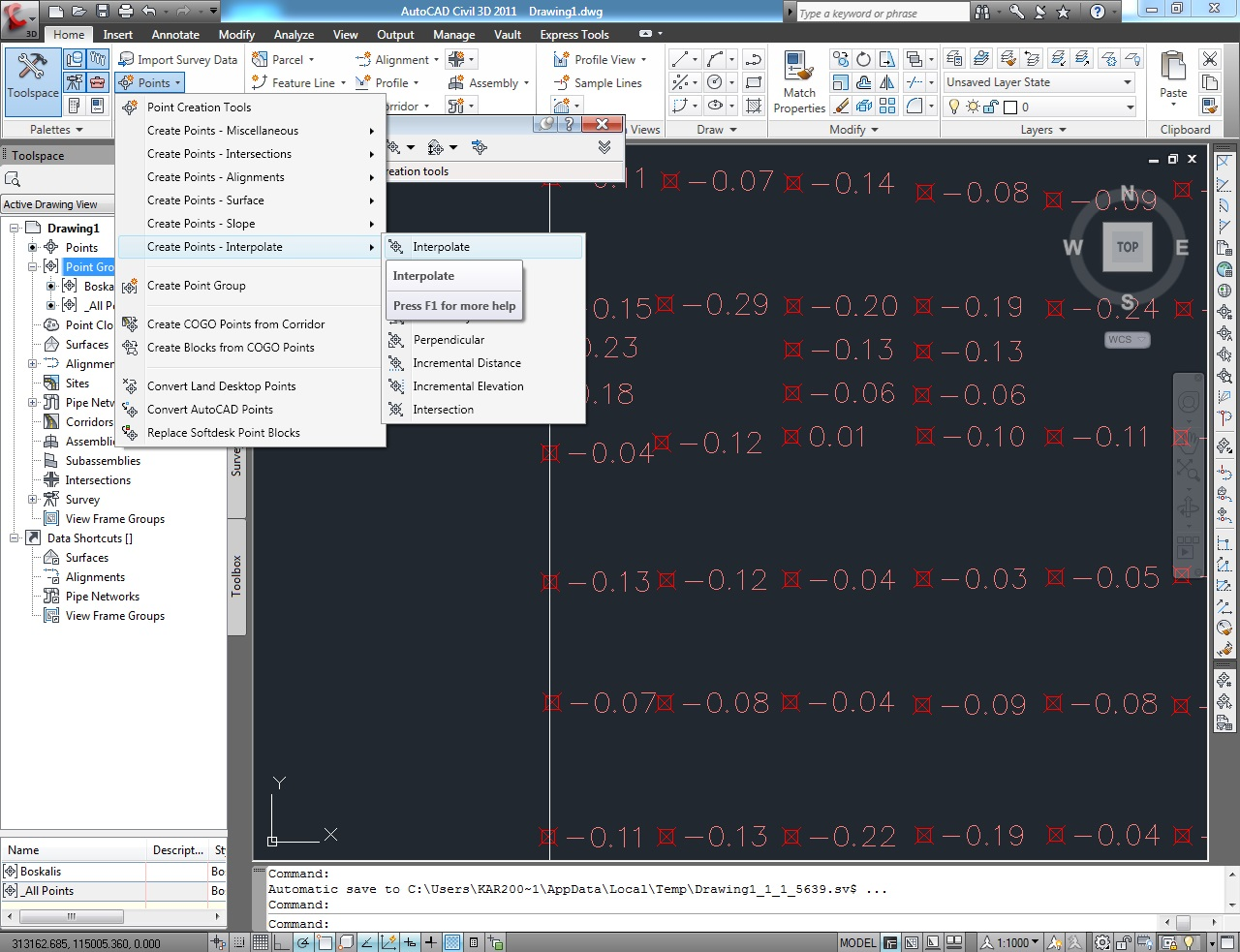 Linux , Java & Surveyor Activities: AutoCad Civil 3D 2011