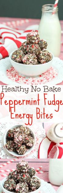 Peppermint Fudge No Bake Energy Bites