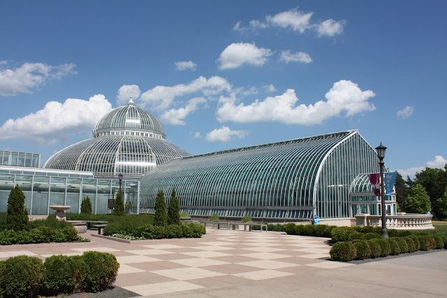 The glass windows and domes of Como Park Conservatory are stunning!