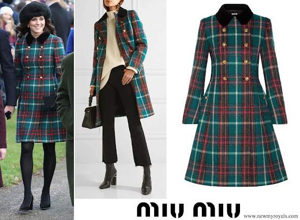 Kate Middleton wore MIU MIU Velvet-trimmed double-breasted tartan wool-blend peacoat