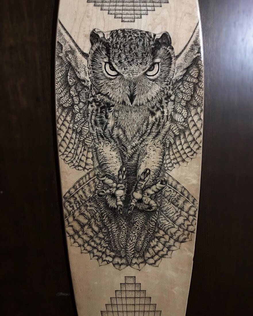 13-Longboard-Owl-Nicholas-Baker-Stippling-Black-and-White-Drawings-www-designstack-co