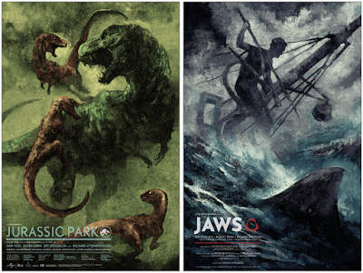 Jurassic Park & Jaws Movie Poster Screen Prints by Karl Fitzgerald x Bottleneck Gallery x Vice Press