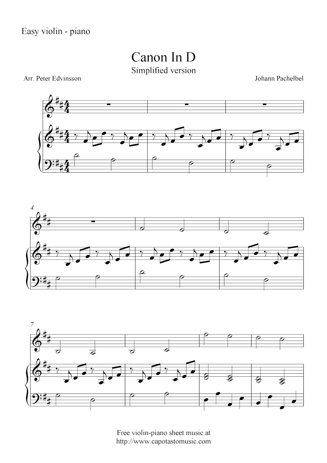 canon in d simplified version free violin and piano sheet music notes. Black Bedroom Furniture Sets. Home Design Ideas