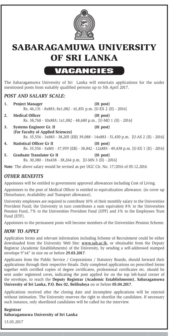 Sri Lankan Government Job Vacancies at Sabaragamuwa University of Sri Lanka for Project Manager, Medical Officer, System Engineer, Statistical Officer, Graduate Translator