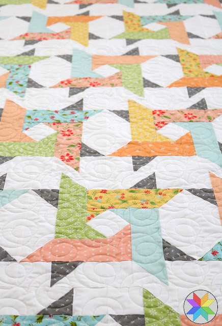 Windy City quilt pattern by A Bright Corner - a fun star quilt pattern in four sizes great for jelly roll strips